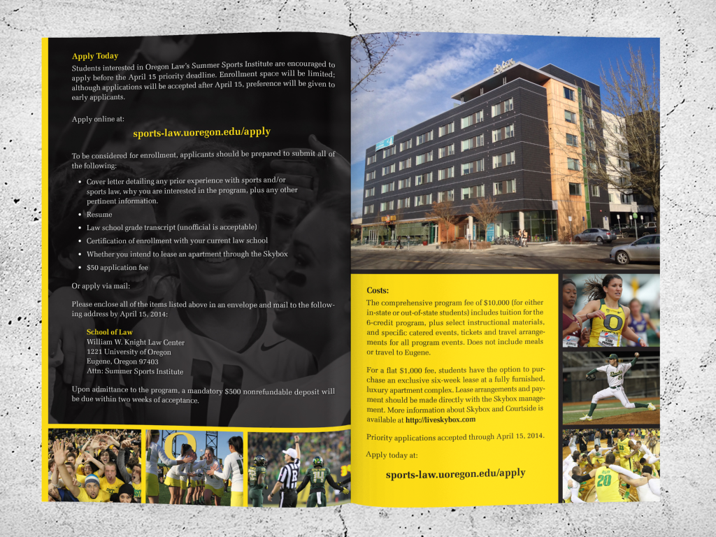UO Summer Sports Law   Poster and Brochure   KUHN Design Group